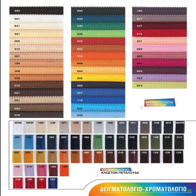 Χρωματολόγιο Φερμουάρ και κλωστών