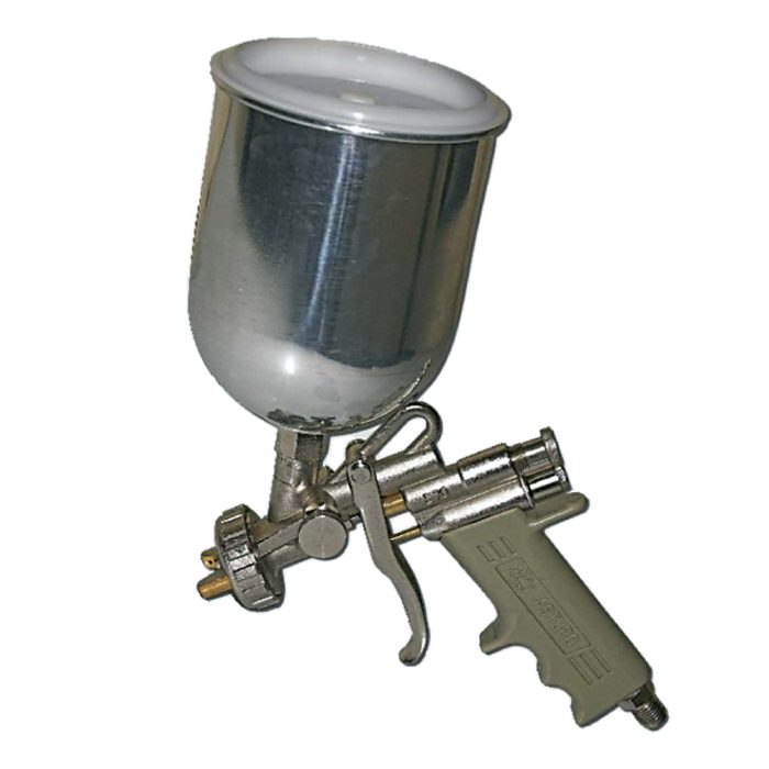 Spray gun with upper tank