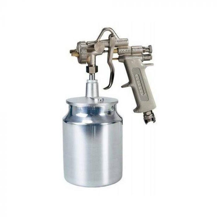 Spray gun with bottom tank